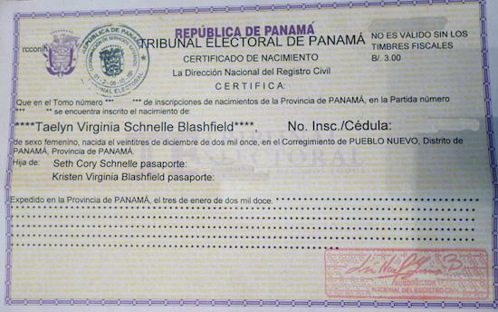certificado nacimiento panama